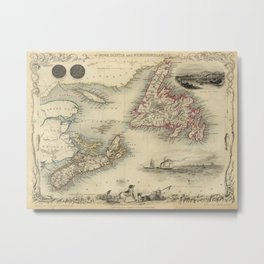 Map of Newfoundland 1851 Metal Print