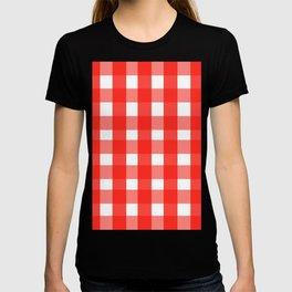 red white checks T-shirt