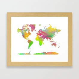 World Map - Watercolor 9 Framed Art Print