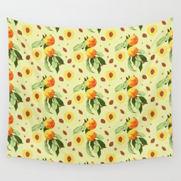 Apricot repeating pattern Wall Tapestry
