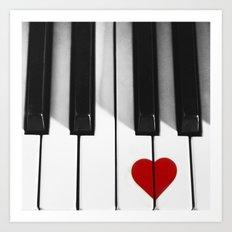 Piano Heart Art Print