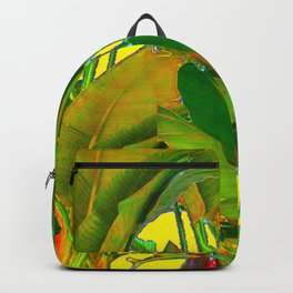 GOLDEN TROPICAL FOLIAGE GREEN & GOLD LEAVES AR Backpack