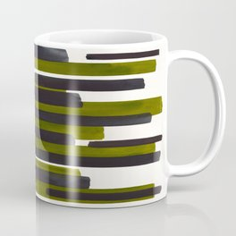 Olive Green Primitive Stripes Mid Century Modern Minimalist Watercolor Gouache Painting Colorful Str Coffee Mug