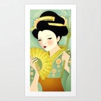 Geisha: Olive Art Print