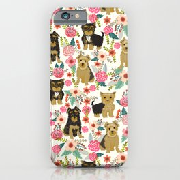 Yorkshire Terrier cute florals must have gifts for dog lover yorkie owners delight secret gifts art iPhone Case
