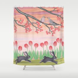 bunnies, tulips, and mourning doves Shower Curtain