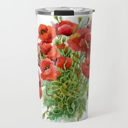 Watercolor Poppies Travel Mug