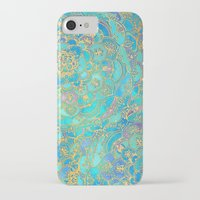 gold iPhone & iPod Cases featuring Sapphire & Jade Stained Glass Mandalas by micklyn