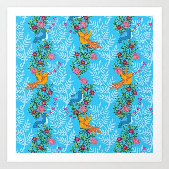 Sweet Lovey Birdies Art Print