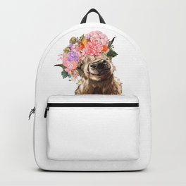 Highland Cow with Flower Crown Backpack