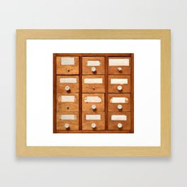 Backgrounds and textures: very old wooden cabinet with drawers Framed Art Print
