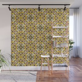 BEACON warm yellow heritage quilt pattern earth tones Wall Mural