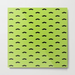 Black Mustache pattern on green background Metal Print