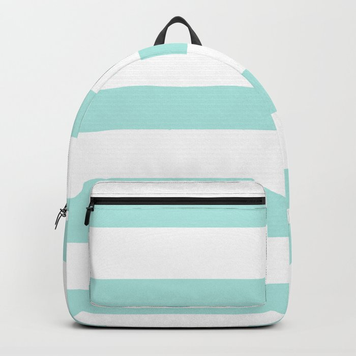 Aqua blue and White stripes lines - horizontal on #Society6 Backpack