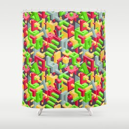 Abstract Geometric Hi-Tech Background with Colorful 3D Objects on Black Shower Curtain