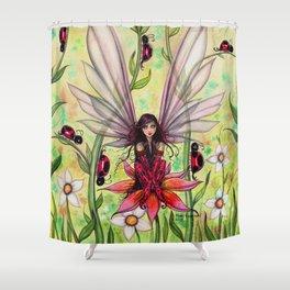 Ladybug Fairy Fantasy Art Illustration by Molly Harrison Shower Curtain