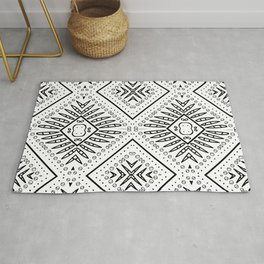 Black and white African culture  batik pattern. Rug