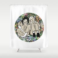 oitnb Shower Curtains featuring OITNB Floral by MODERN UNDERGROUND