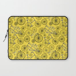 Monochrome Vintage Bicycles On Bright Yellow Laptop Sleeve