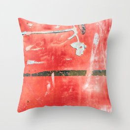 Etched Scratchings of a Mad Red Monk Throw Pillow