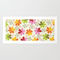 Spirals, Squares and Flowers Art Print