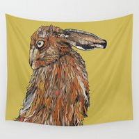 hare Wall Tapestries featuring Hare by Louisa Heseltine