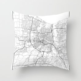 Minimal City Maps - Map Of Rochester, New York, Untited States Throw Pillow