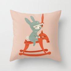 Rabbit Knight Throw Pillow