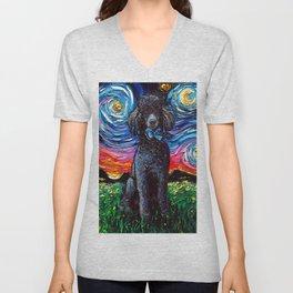 Black Poodle Night Unisex V-Neck