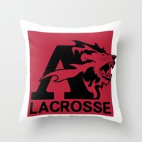 lacrosse Throw Pillows featuring Albright Lacrosse by Mike Stark