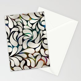 Cream Platinum / Silver Paisley pattern Stationery Cards