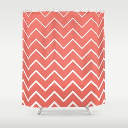 Living Coral and White Zigzag Chevron Pattern Shower Curtain