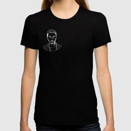 Woody white on black T-shirt