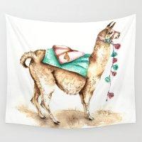llama Wall Tapestries featuring Watercolor Llama by Goosi