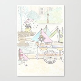 Boston Terrier and Sailboats in Paris Fountain Canvas Print