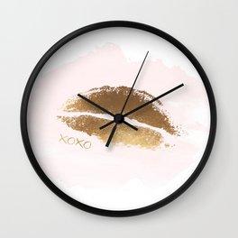 XOXO Print, Kiss Art, Lips Wall Art, Gold Foil Kiss Print, Lips Art, Gold Love, Kiss Poster Wall Clock