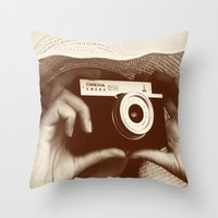 photographer Throw Pillows featuring Photographer by XfantasyArt