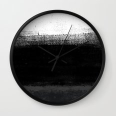 Ocean No. 2 - Minimal ocean abstract painting in black and white Wall Clock