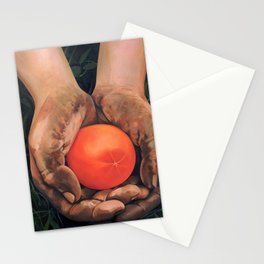 Hands holding a tomato Stationery Cards