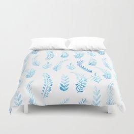 Trendy modern aqua blue watercolor floral leaves pattern Duvet Cover