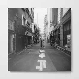 Walking the Streets of Tokyo - Black and White Film Photograph Metal Print