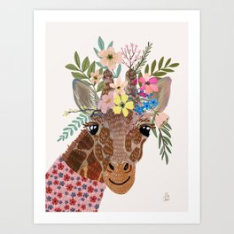 Giraffe with flowers on head Art Print
