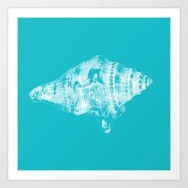 Sea shell in blue Art Print