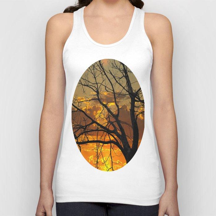 Sunset Tree, California Unisex Tank Top