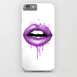 Purple Lips Print Makeup Decor Watercolor Art Kiss Love Sexy Girl Fashion Poster Chic Lipstick iPhone Case