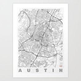 Austin Map Line Art Print