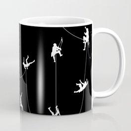 Invasion of the rock climbers (white on black) Coffee Mug