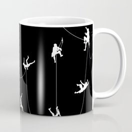 Invasion of the rock climbers (white on black) Coffee Mug