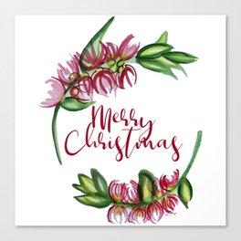 Merry Christmas - An Australian Native Floral Wreath Canvas Print
