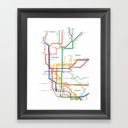 New York City subway map Framed Art Print